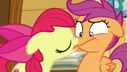 Size: 1920x1080   Tagged: safe, derpibooru import, screencap, apple bloom, scootaloo, earth pony, pegasus, pony, on your marks, boop, female, filly, noseboop, now kiss, out of context