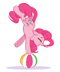 Size: 796x966 | Tagged: safe, artist:hattsy, pinkie pie, earth pony, pony, balancing, beach ball, eyes closed, female, handstand, mare, open mouth, simple background, smiling, solo, standing on one leg, white background