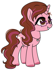 Size: 771x1036 | Tagged: safe, artist:kb-gamerartist, derpibooru exclusive, derpibooru import, oc, oc only, oc:opacity, pony, unicorn, 2021 community collab, derpibooru community collaboration, female, freckles, glasses, grin, jewelry, mare, necklace, simple background, smiling, solo, transparent background