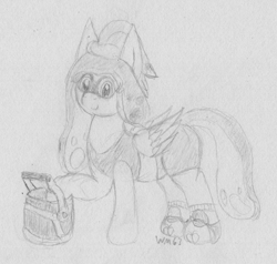 Size: 2125x2021 | Tagged: safe, artist:wapamario63, fluttershy, pegasus, pony, alternate hairstyle, bucket, clothes, cute, inkling, monochrome, sketch, smiling, solo, splatoon, squidpony, traditional art