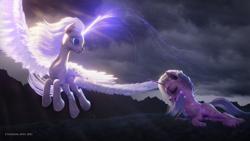 Size: 3840x2160 | Tagged: safe, artist:etherium-apex, oc, oc only, alicorn, pony, unicorn, 3d, aurum, blender, duo, grass, overcast