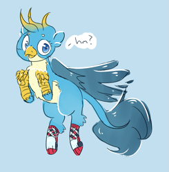 Size: 799x815 | Tagged: safe, artist:tilling-tan, gallus, griffon, blue background, clothes, drawthread, female, gallina, requested art, rule 63, simple background, socks, solo