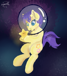 Size: 1247x1416 | Tagged: safe, artist:lechu-zaz, derpibooru import, star dancer, earth pony, pony, abstract background, hairpin, simple background, space, space helmet, star dancer appreciation collab, stars