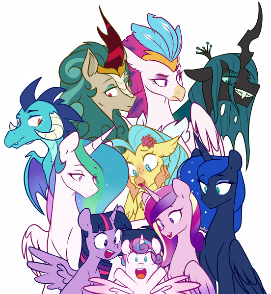Size: 4841x5265 | Tagged: safe, artist:chub-wub, derpibooru import, princess cadance, princess celestia, princess ember, princess flurry heart, princess luna, princess skystar, queen chrysalis, queen novo, rain shine, twilight sparkle, twilight sparkle (alicorn), alicorn, changeling, changeling queen, dragon, hippogriff, kirin, pony, alicorn pentarchy, baby, cute, dragoness, evil grin, featured image, female, filly, flurrybetes, grin, mare, open mouth, royal sisters, siblings, simple background, sisters, smiling, white background