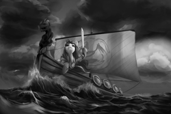 Size: 1500x1000   Tagged: safe, artist:andromailus, oc, oc only, oc:nordpone, earth pony, pony, boat, female, mare, monochrome, ocean, solo, sword, viking ship, weapon