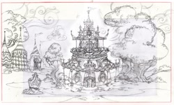Size: 1600x968 | Tagged: safe, artist:davedunnet, derpibooru import, carousel boutique, concept art, monochrome, official art, pencil drawing, sketch, traditional art, tree
