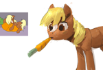 Size: 2410x1635   Tagged: safe, artist:rhorse, verity, earth pony, pony, /mlp/, carrot, food, simple background, solo, tickly whiskers, white background
