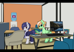 Size: 4092x2893   Tagged: safe, artist:syntiset, princess celestia, oc, oc only, oc:sapphie, oc:violet evergard, pegasus, pony, unicorn, background, book, business suit, chair, clothes, commission, duo, ear piercing, earring, eye clipping through hair, female, freckles, glasses, jewelry, keyboard, lock screen, mare, monitor, obey, office, pegasus oc, pen, piercing, ponybooru, table, unicorn oc, water cooler, windows, windows 10