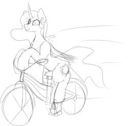 Size: 1200x1175   Tagged: safe, artist:codras, princess celestia, alicorn, pony, bicycle, black and white, curved horn, female, mare, monochrome, simple background, sketch, solo, white background
