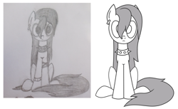 Size: 1634x1002   Tagged: safe, artist:superderpybot, oc, oc only, oc:punkpone, earth pony, pony, black and white, ear piercing, earring, earth pony oc, female, jewelry, looking at you, mare, piercing, punk, sitting, spiked collar