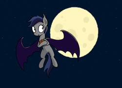 Size: 1508x1086   Tagged: safe, artist:superderpybot, oc, oc only, oc:echo, bat pony, pony, bat wings, female, flying, fruit, mare, moon, night, solo, wings