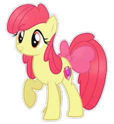 Size: 1824x1992 | Tagged: safe, artist:prince-galaxy, derpibooru import, apple bloom, earth pony, pony, bow, female, mare, older, older apple bloom, raised hoof, raised leg, simple background, smiling, solo, tail bow, transparent background, white outline