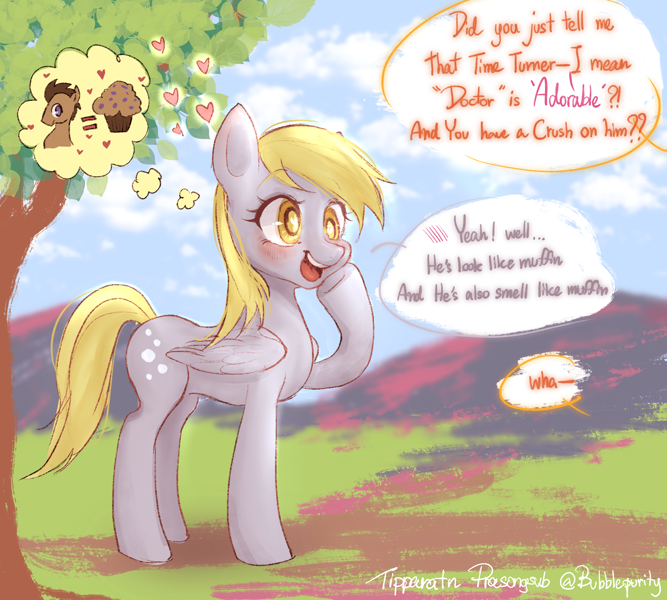 Size: 3000x2700 | Tagged: safe, artist:bubblepurity, derpibooru import, carrot top, derpy hooves, doctor whooves, golden harvest, earth pony, pegasus, pony, background pony, blushing, chat, cute, derp, derpabetes, doctorderpy, featured image, female, food, heart, heart eyes, male, mare, muffin, ponyville, shipping, straight, translated in the description, tree, wingding eyes