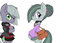 Size: 1024x701 | Tagged: safe, artist:a.s.e, derpibooru import, limestone pie, marble pie, earth pony, semi-anthro, angry, clothes, collar, duo, duo female, female, looking at you, nervous, simple background, white background