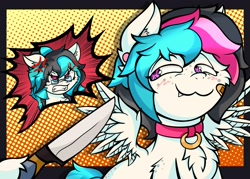 Size: 2911x2079 | Tagged: safe, artist:canvymamamoo, derpibooru import, oc, oc only, oc:canvy, oc:echy, pegasus, pony, :3, abstract background, angry, bandaid, blushing, brother and sister, chest fluff, collar, cross-popping veins, duo, ear fluff, ear piercing, earring, ears, fangs, female, floppy ears, freckles, grin, gritted teeth, jewelry, knife, male, mare, offscreen character, piercing, siblings, smiling, smug, spread wings, stallion, twins, unshorn fetlocks, wings
