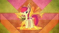 Size: 1280x720 | Tagged: safe, artist:laszlvfx, derpibooru import, apple bloom, earth pony, pony, braid, female, mare, mouth hold, older, older apple bloom, solo, wallpaper